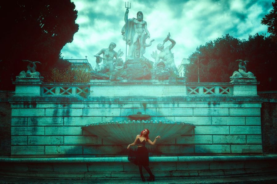 Portrait Portrait Of A Woman Model Rome Italy Concept Conceptual Mood Moody Fountain Piazza Del Popolo City Street Street Photography Canon Blue Statue Travel Beauty Architecture Idea