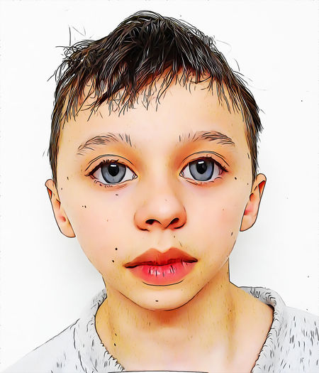 Portrait Headshot Front View White Background Looking At Camera One Person Indoors  Close-up Lifestyles Studio Shot Child Childhood Real People Lipstick Leisure Activity Young Adult Make-up Boys Human Face Hairstyle Innocence Making A Face Teenager Cartoon