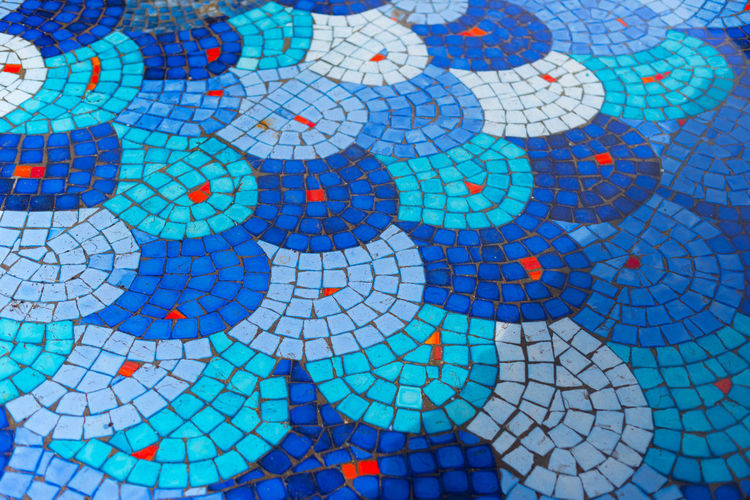 Full frame shot of semi-circle mosaic pattern