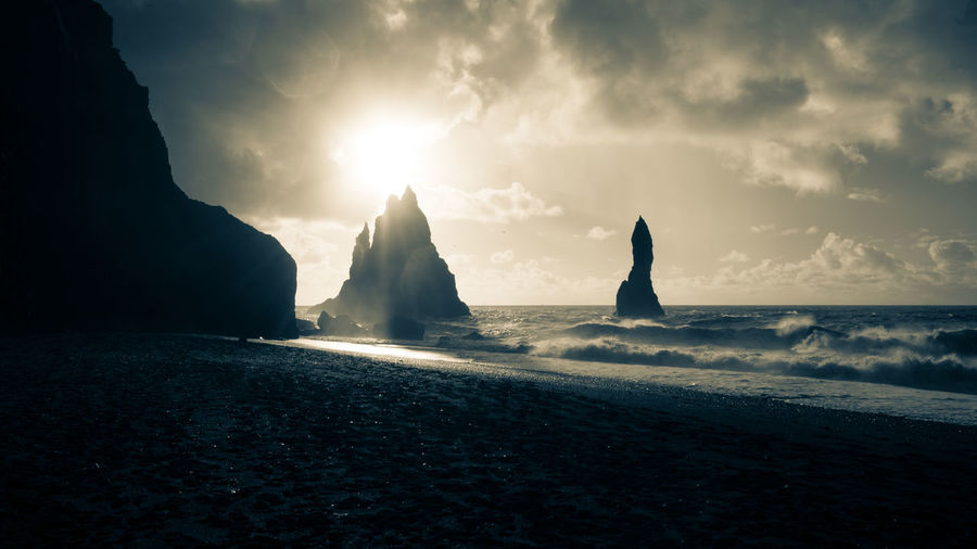 Black Sand Beach Iceland Sea Sky Water Cloud - Sky Land Scenics - Nature Nature Beauty In Nature Tranquility Beach Tranquil Scene No People Rock Motion Rock - Object Silhouette Solid Horizon Over Water Outdoors
