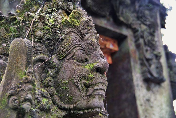 Close-Up Of Old Sculpture At Pura Tirta Empul Temple