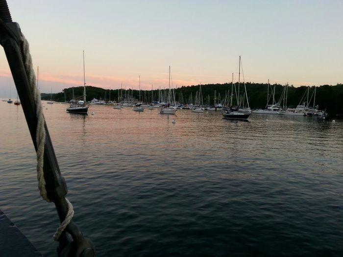 Sailing past a marina as the sun sets. Marina Sailboats Taking Photos Serenity Harbour Cruise Halifax Enjoying The Sights