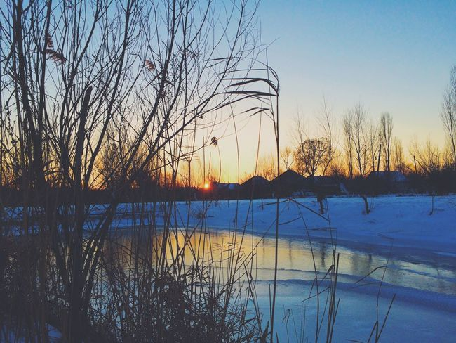 Ice Vilkovo Nature Sunset When we were walking with a friend, we could see an amazing picture of the sunset.