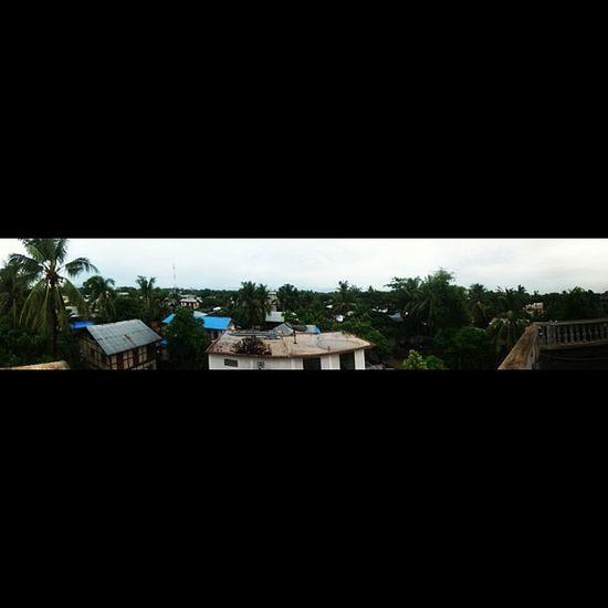 Panorama Pano Builts House tower mountain shan tree coconut cloudy raining mandalay