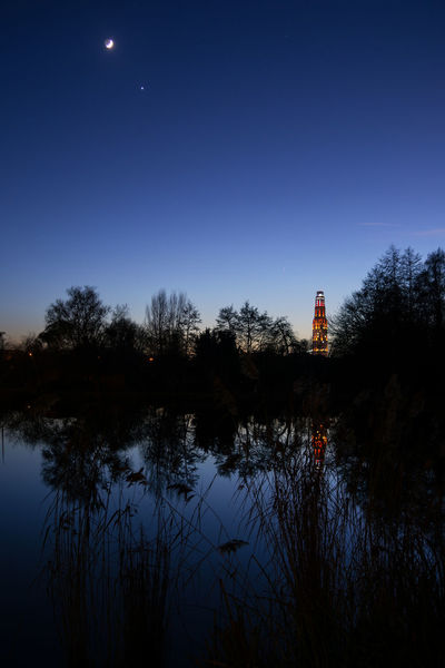 Amiens Blue Hour France Architecture Moon Night Reflection Silhouette Sky Tour Perret Water EyeEmNewHere