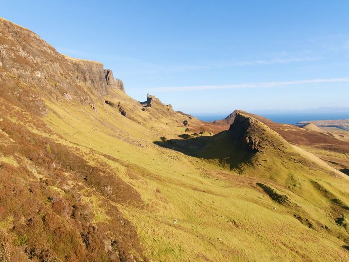 Winter colors of hilly landscape on isle of skye in scotland. beautiful quiraing range of mountains