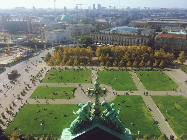 On top of Berliner Dom looking at the Berlin - Lustgarten - tourist in my own city