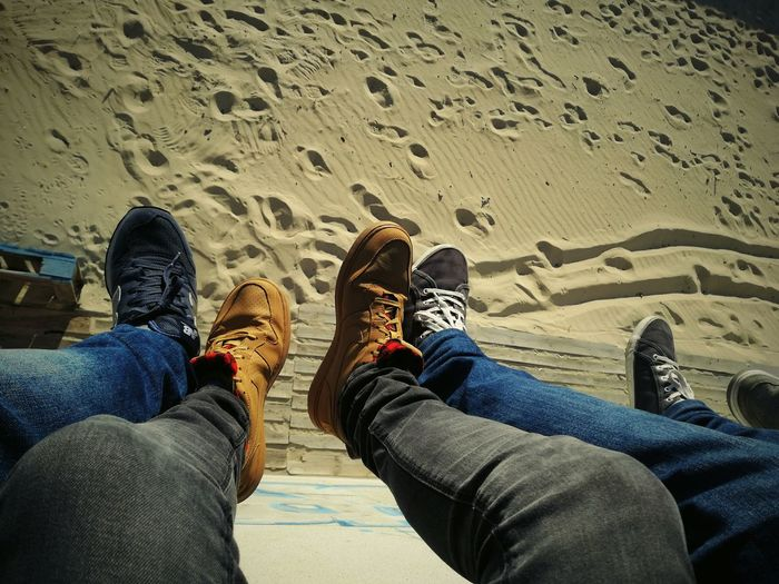 Beach Human Leg Personal Perspective Human Foot Jeans Casual Clothing Sand Outdoors Lifestyles Friends ❤ EyeEmNewHere
