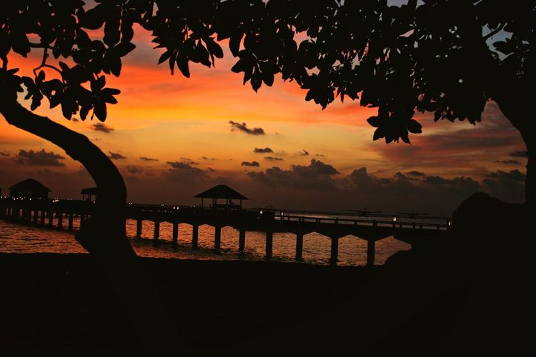 Maldives Sunset Travel Lifestyle Landscape Beach Ocean Wharf