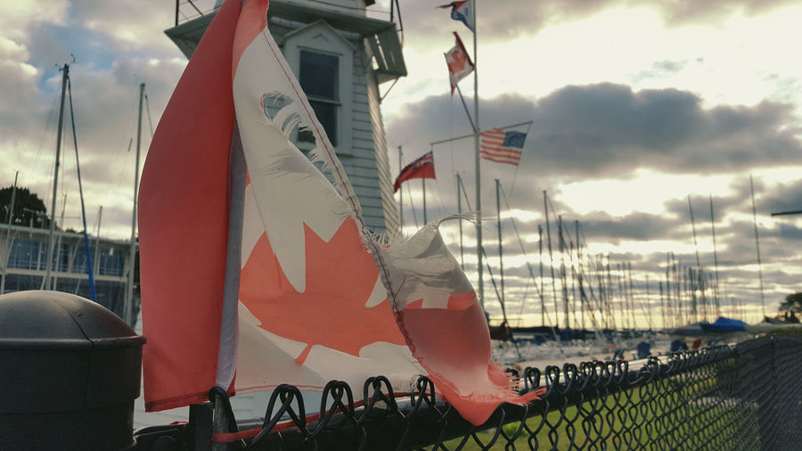 Canadian Flag Canadian Flag Whipping In The Wind CanadianFlag Oakville Gallery Oakville Ontario Oakville Marina Candian Flag Oakville OakvilleCA