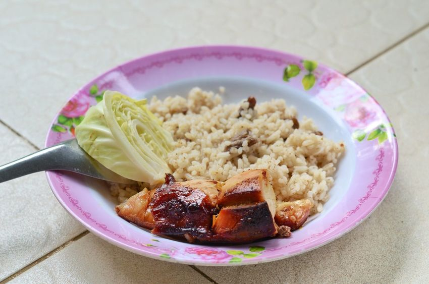 Chicken Meat Fire Rice Food Meal Lunch Breakfast Plate Fruit Sweet Food Food And Drink