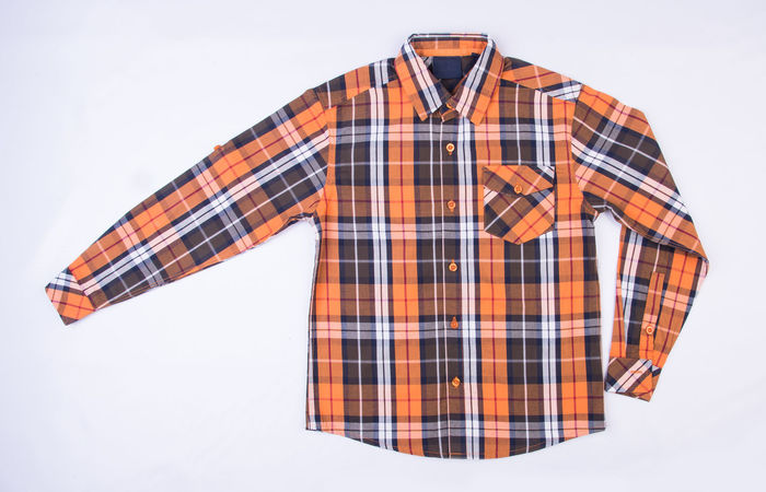 Adult Button Down Shirt Casual Clothing Checked Pattern Clothing Cut Out Front View Fully Unbuttoned Gray Indoors  Menswear Midsection One Person Pattern Plaid Plaid Shirt  Standing Studio Shot White Background