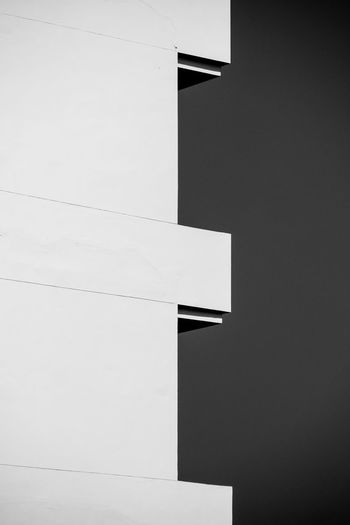 Architecture Built Structure No People Building Exterior Building Low Angle View Wall - Building Feature Copy Space White Color Outdoors Nature Day Modern Sky Clear Sky Gray Geometric Shape Black Color Close-up White Blank
