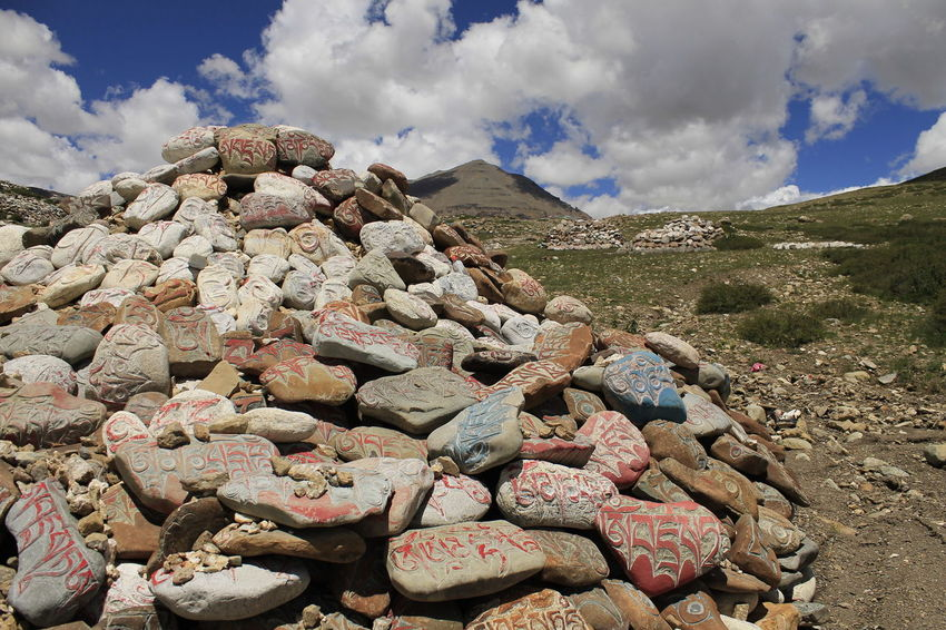 Tibet Travel Tibetan Buddhism Cloud - Sky Mani Stone Nature Outdoors Rock - Object Sky Tibet