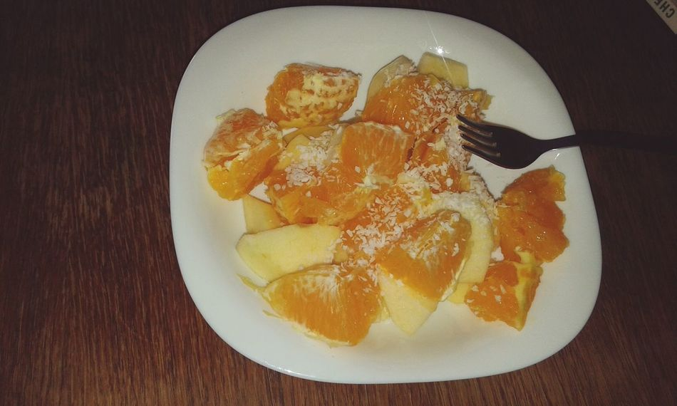 Fruits ♡ Enjoying A Meal FRUIT SALAD!! YUMMY YUMMY  Oranges Apples Polish Apple Coconut Yummy♡ Foodporn Enjoying Life