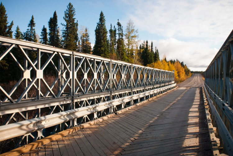 Bailey  Boreal Forest Narrow One Lane Bridge Ontario Rural Trees Wood Bailey Bridge Bridge Canada Far North Forest Metal Northern Remote Sunrise Transportation Truss Bridge