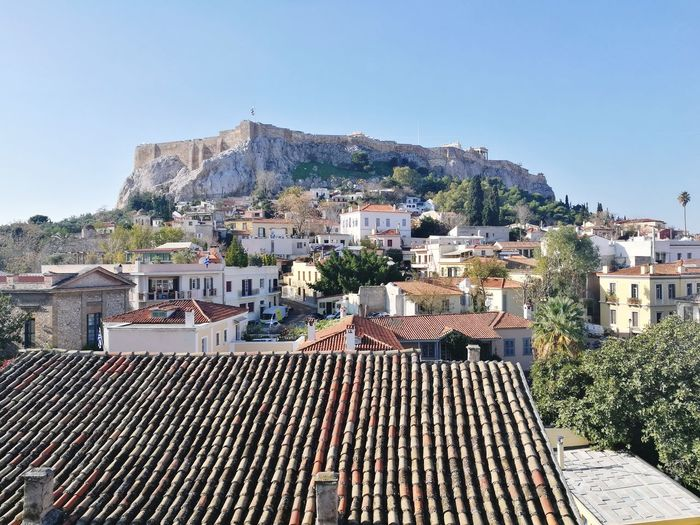 Acropolis, Athens Acropolis Cityscape Politics And Government City Community Residential Building Town Roof Tree House Sky Housing Settlement Residential Structure Human Settlement Rooftop Building Old Town Tiled Roof