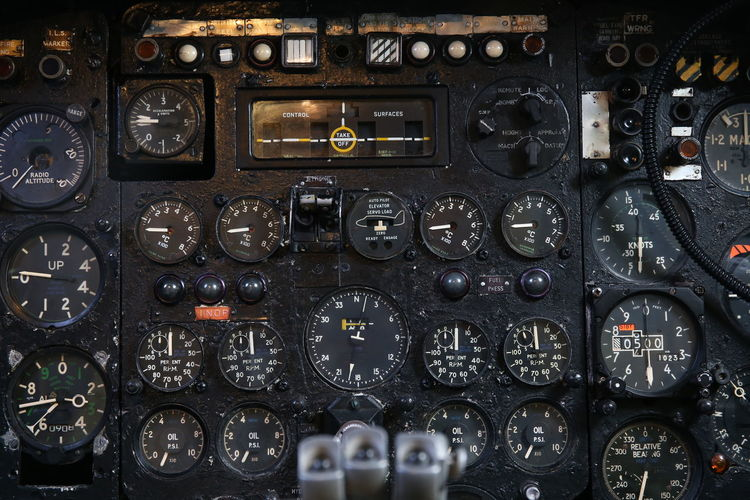 Full frame shot of airplane cockpit