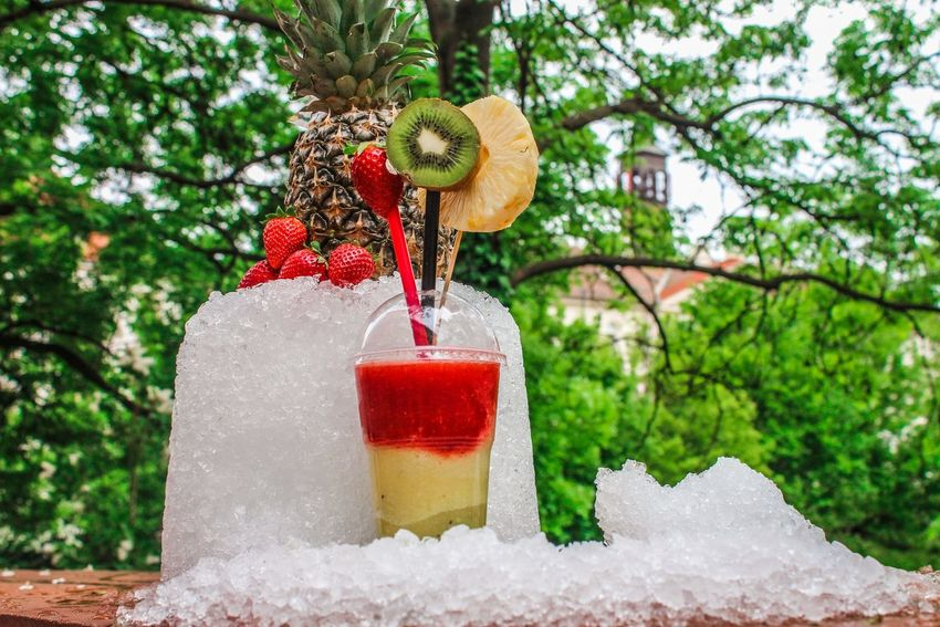 Juce with ice Tree Water Fruit No People Red Outdoors Nature Day Food Freshness Close-up Juce