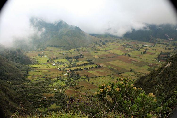 Looking into the pululahua crater. farmland, ecuador