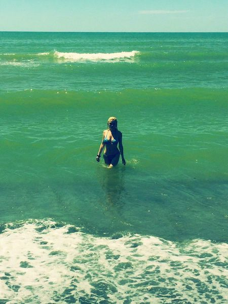 Color Palette Hello World That's Me Check This Out Taking Photos Life In Colors Enjoying Life Summertime Summer2016 Green Color Horizon Hot Day Swimwear Woman In The Sea Green Sea Small Waves Sunny Day Life Is Beautiful