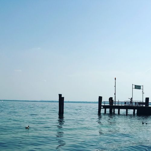 Gardasee Lago Di Garda Animal Themes Beauty In Nature Bird Blue Clear Sky Copy Space Day Horizon Over Water Nature No People Outdoors Post Scenics - Nature Sea Sky Swimming Swimming Pool Tranquil Scene Tranquility Travel Destinations Water Waterfront Wooden Post