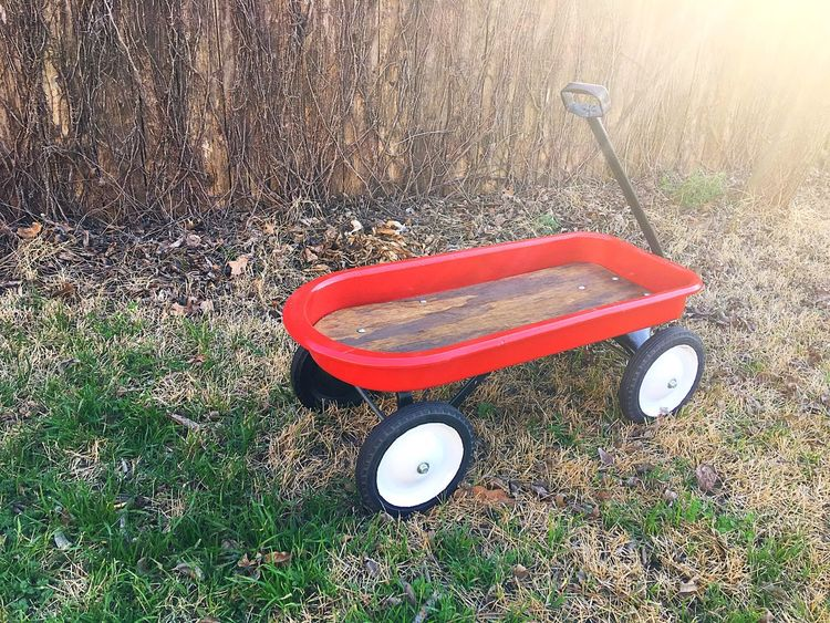 Lieblingsteil Dad's Project Antique Vintage Wagon  Radio Flyer Refurbished Red Wagon High Angle View Metal And Wood Toyphotography Sunlight Vintage Toys Antique Wagon Vintage Wagon Redone Red Childhood Ride On Child Hood Memories Play IPhone IPhoneography Iphone6splus Natural Light