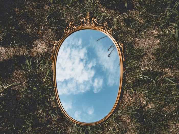 Reflection of sky on field