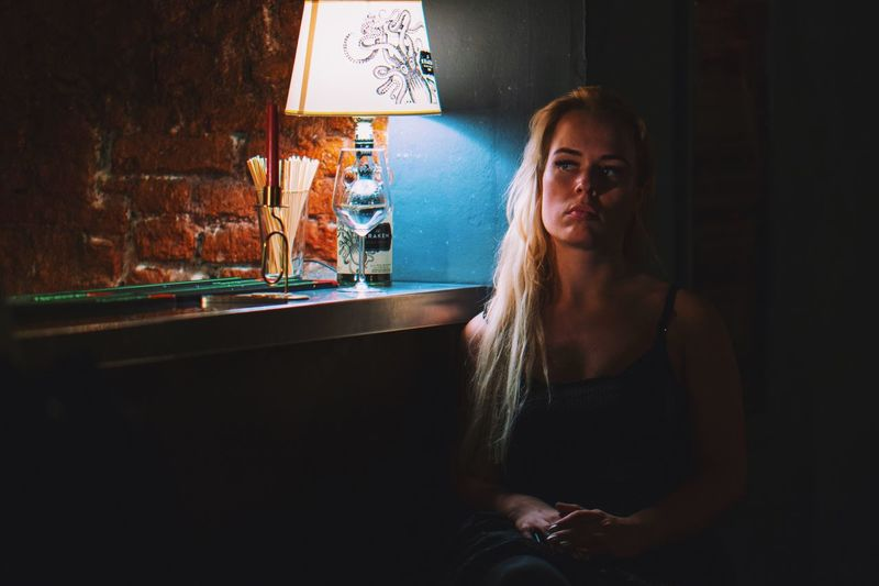 Beautyisourduty Real People One Person Indoors  Young Adult Leisure Activity Lifestyles HUAWEI Photo Award: After Dark Young Women Casual Clothing Night Contemplation Sitting Portrait Capture Tomorrow