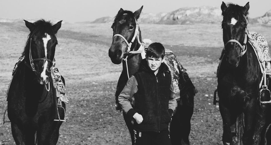 Finding New Frontiers Blackandwhite Outdoors Horse Traveling Travel Portrait Moment Hisor, Tajikistan.