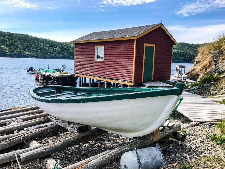 Transportation Nautical Vessel Mode Of Transport Moored Boat Day Outdoors No People Sky Built Structure Water Building Exterior Cloud - Sky Nature Architecture Tree Newfoundland Newfoundland, Canada Butter Cove
