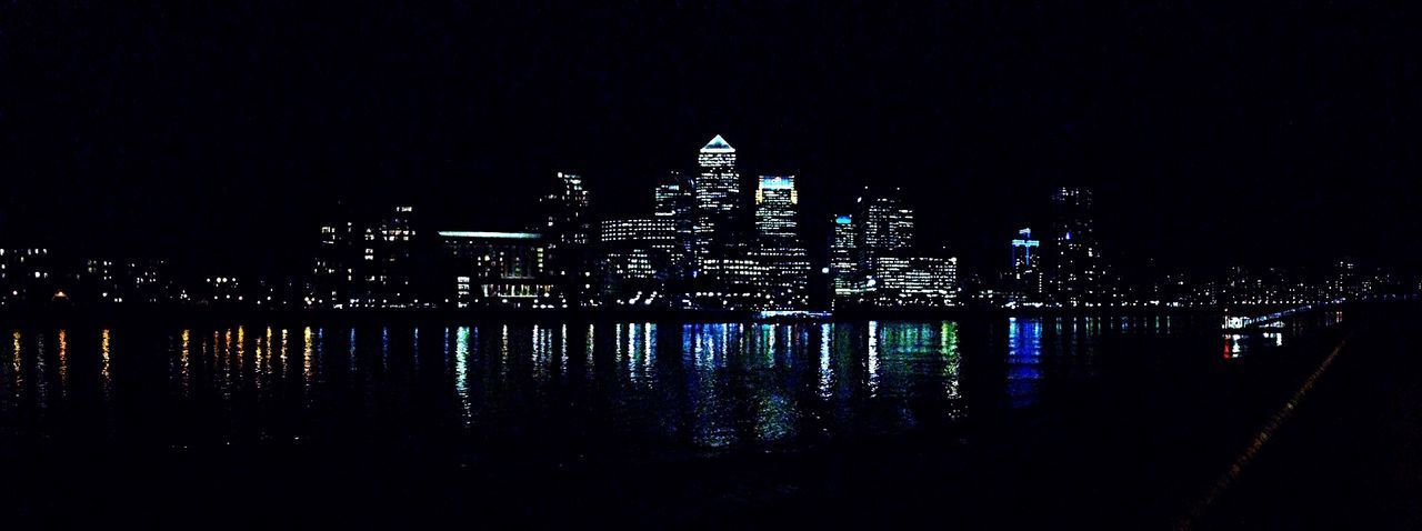 River Thames Skyline At Night Financial Center LONDON❤ Canary Wharf Skyline Night Illuminated Architecture Built Structure Building Exterior Travel Destinations Outdoors No People City Sky