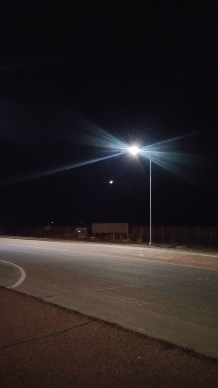 night, illuminated, road, street light, no people, transportation, outdoors, sky