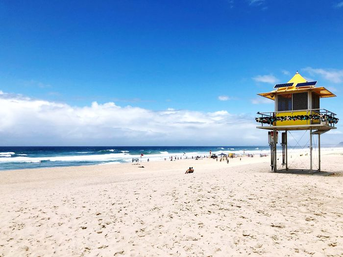 Lifesaving club lookout in Broadbeach, Gold Coast. Waves Life Saver Gold Coast Queensland Australia Beach Land Water Sea Sky Sand Beauty In Nature Scenics - Nature Horizon Over Water Horizon Day Tranquility Incidental People Tranquil Scene Blue Sunlight Cloud - Sky Outdoors Nature