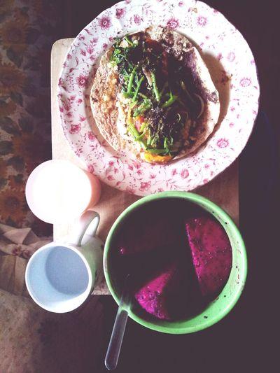 brunch!!! Inmymouf Quailwrap Dragonfruit Lowfatmilk