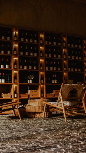 View of bottles in rack