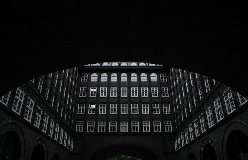 Low angle view of building at night