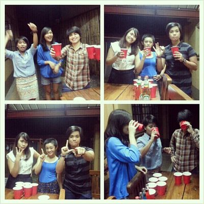 What is beer pong without trash talks? This game brought out our competitive side last night. Beerpong Bobonights Trashtalk Dysfunctionalfamily belatedhappybirthdayjo @rafadeg @jonemarie @tinisyay @nirailu