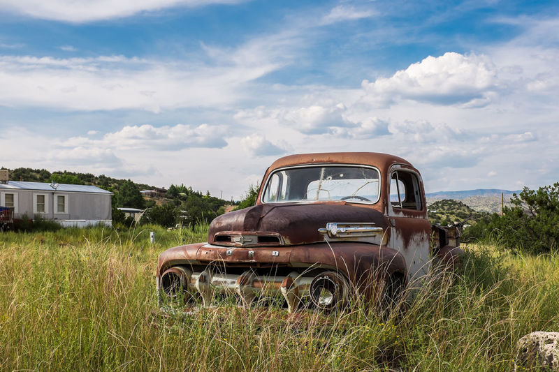 Abandoned Antique Bad Condition Blue Car Cloud - Sky Commercial Land Vehicle Day Land Vehicle Mode Of Transport No People Old-fashioned Outdoors Pick-up Truck Retro Styled Sky