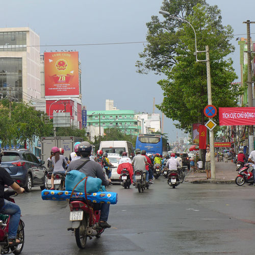 Road trafic in Ho-Chi-Minh-City City City Life Ho-Chi-Minh City Moped Motorcycle Road Road Traffic Saigon Sign Street Streetview Vehicle Vietnam