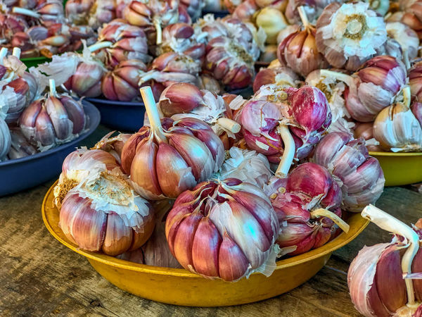 Garlic on market Wood Table Onion On Plate Store Legume Market Stall Day For Sale Abundance Retail  Retail Display Garlic Vegetable Large Group Of Objects Close-up Market No People Healthy Eating Wellbeing Freshness Food