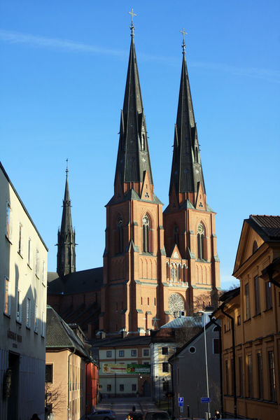 Architecture Blue Building Exterior Built Structure Cathedral Church City Clear Sky Place Of Worship Religion Sky Spire  Spirituality Steeple Tower Transportation Travel Travel Destinations Uppsala Cathedral Uppsala Domkyrka Uppsala, Sweden