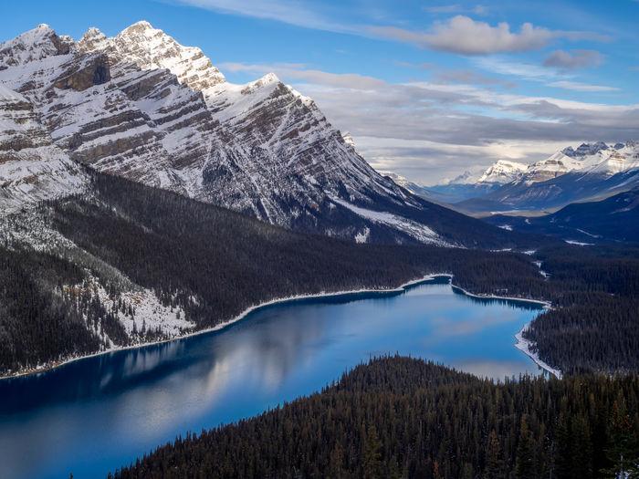 Banff national park's peyto lake in winter.