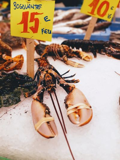 Close-up of lobster for sale at market stall