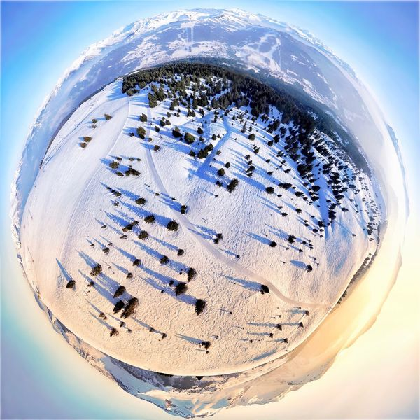 Little Planet Snow LesGets French Alps Haute-Savoie  Portes Du Soleil Les Gets Sunset Skiing Ski Fish-eye Lens Planet Earth Day No People Close-up Sky Outdoors Water Nature