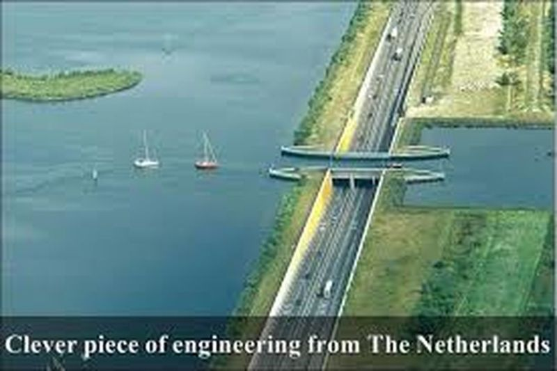 cover piee of Engineering at Netherlands road built in the sea. Water