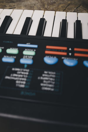 Keyboard synthesizer Arts Culture And Entertainment Black Buttons Close-up Composer Electro Indoors  Instrument Key Keyboard Instrument Man Music Music Musical Instrument No People Note Piano Player Playing Song Songwriter Synthesizer Technology White Wood - Material