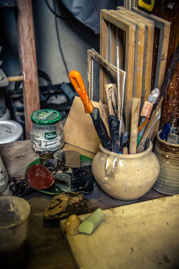 Atelier Close-up Day Desk Organizer Indoors  Large Group Of Objects No People Pottery Table Tools Working Space