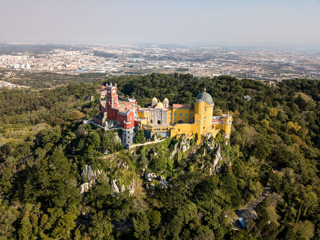 Castle Sintra Aerial View Architecture Beauty In Nature Built Structure Cityscape Cultures Day Dome High Angle View Mountain Nature Outdoors Religion Sky Travel Destinations