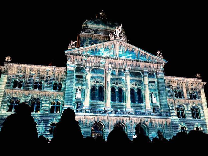 Cities At Night Bern Bern Bundesplatz Das Juwel Der Berge Lightshow Coulours  Beautiful Light Dark Check This Out Blue Building City City Lights